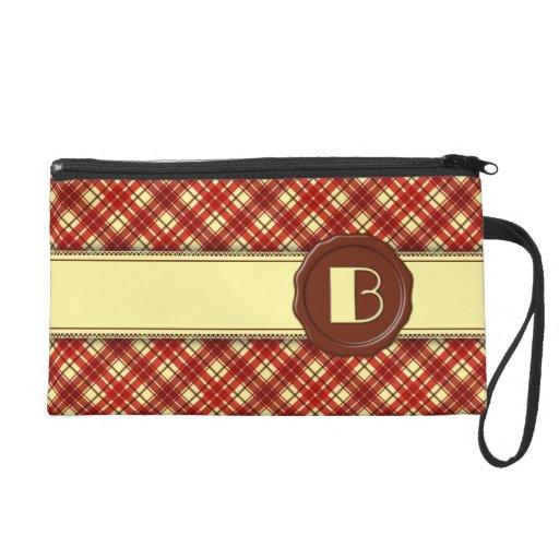 Chocolate Shop Monogram -Red Cream Plaid - B Wristlet Clutch