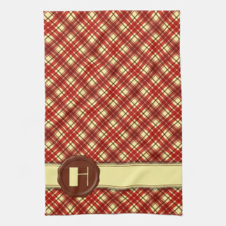 Chocolate Shop Monogram -Red Cream Plaid - H Hand Towel