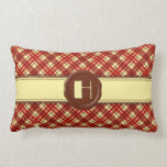 Chocolate Shop Monogram -Red Cream Plaid - H Throw Pillow