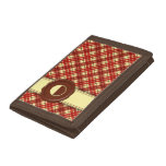 Chocolate Shop Monogram -Red Cream Plaid - O Trifold Wallets
