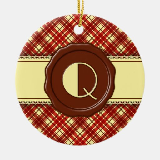 Chocolate Shop Monogram -Red Cream Plaid - Q Double-Sided Ceramic Round Christmas Ornament