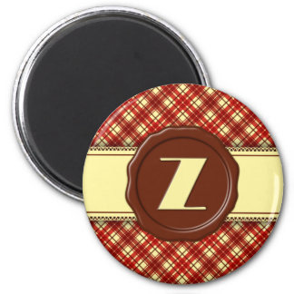 Chocolate Shop Monogram -Red Cream Plaid - Z 2 Inch Round Magnet