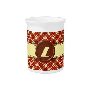 Chocolate Shop Monogram -Red Cream Plaid - Z Beverage Pitcher