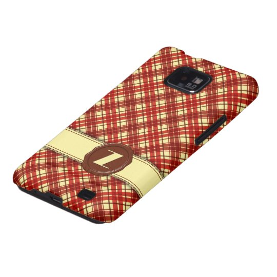 Chocolate Shop Monogram -Red Cream Plaid - Z Galaxy S2 Case