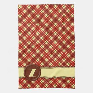Chocolate Shop Monogram -Red Cream Plaid - Z Towel
