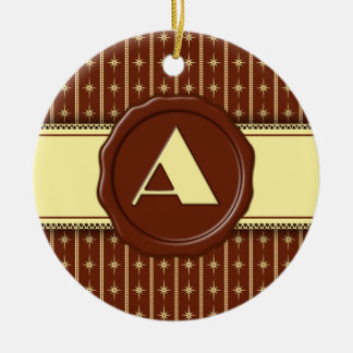 Chocolate Shop Monogram - Star and Stripe - A Double-Sided Ceramic Round Christmas Ornament