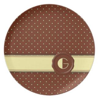 Chocolate Shop Polka Dot Monogram - G Dinner Plate