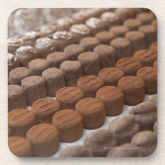 chocolate shop store display of chocolate drink coaster