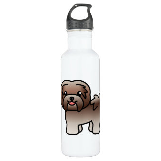 Chocolate Silver Cartoon Havanese Dog Water Bottle