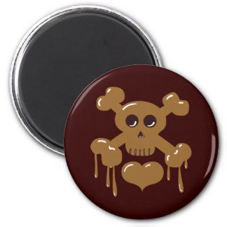 Chocolate Skull and Crossbones 2 Inch Round Magnet
