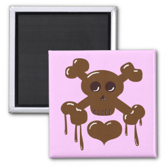 Chocolate Skull and Crossbones 2 Inch Square Magnet
