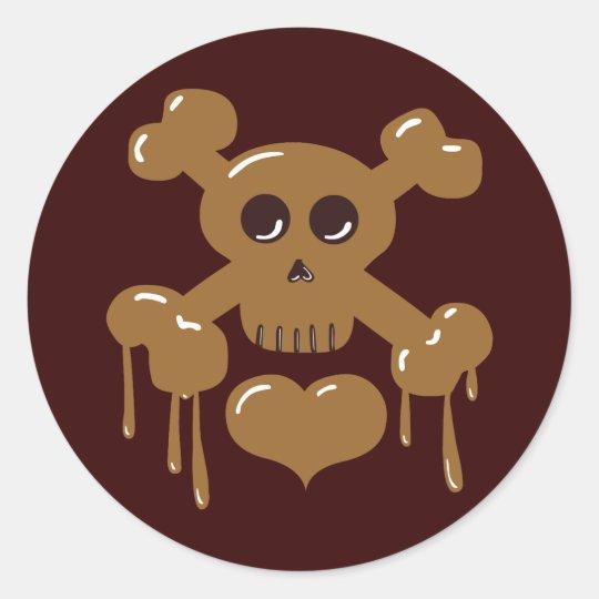 Chocolate Skull and Crossbones Classic Round Sticker