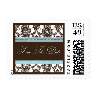 Chocolate & Sky Fancy Save The Date-Small Postage