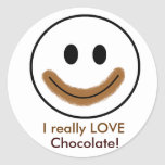 """Chocolate Smiley Face """"I really LOVE Chocolate!"""" Classic Round Sticker"""