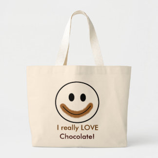 """Chocolate Smiley Face """"I really LOVE Chocolate!"""" Large Tote Bag"""