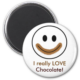 """Chocolate Smiley Face """"I really LOVE Chocolate!"""" Magnet"""