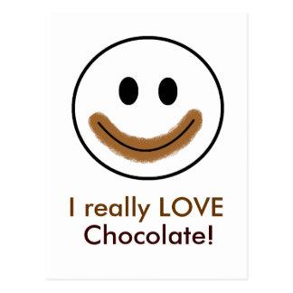 "Chocolate Smiley Face ""I really LOVE Chocolate!"" Postcard"
