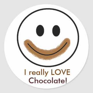 """Chocolate Smiley Face """"I really LOVE Chocolate!"""" Sticker"""