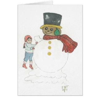 """CHOCOLATE SNOWMAN"" / CHILD Greeting Card"
