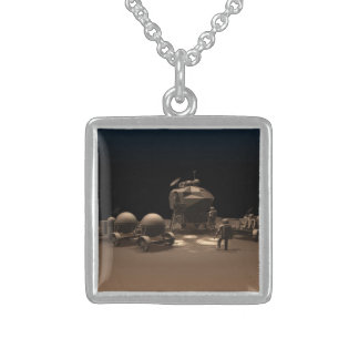 Chocolate Space Square Pendant Necklace