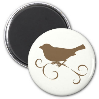Chocolate Sparrow with Ribbon 2 Inch Round Magnet