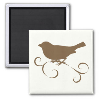 Chocolate Sparrow with Ribbon 2 Inch Square Magnet