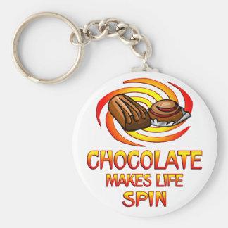 Chocolate Spins Basic Round Button Keychain