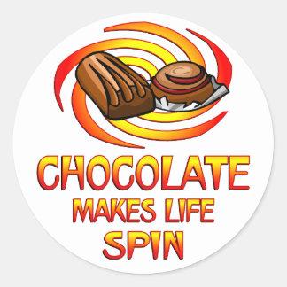 Chocolate Spins Classic Round Sticker