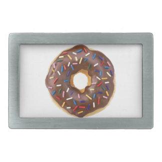 Chocolate Sprinkle Doughnut Rectangular Belt Buckles