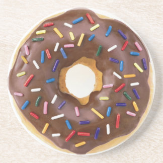Chocolate Sprinkle Doughnut Beverage Coaster