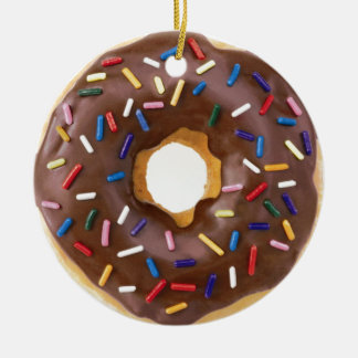 Chocolate Sprinkle Doughnut Double-Sided Ceramic Round Christmas Ornament