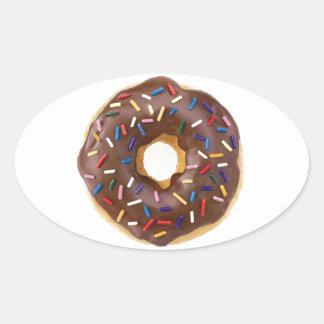 Chocolate Sprinkle Doughnut Oval Sticker