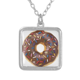 Chocolate Sprinkle Doughnut Silver Plated Necklace