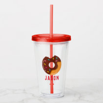 Chocolate Sprinkled Donut Personalized Kids Acrylic Tumbler