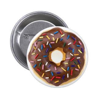 Chocolate Sprinkles Doughnut 2 Inch Round Button