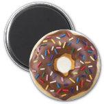 Chocolate Sprinkles Doughnut 2 Inch Round Magnet