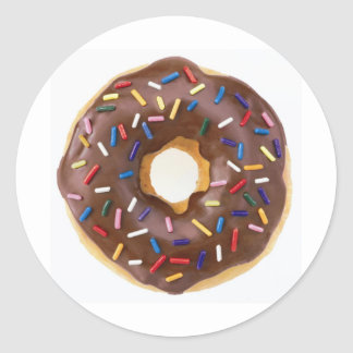 Chocolate Sprinkles Doughnut Classic Round Sticker