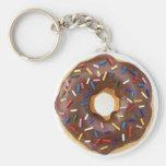 Chocolate Sprinkles Doughnut Basic Round Button Keychain