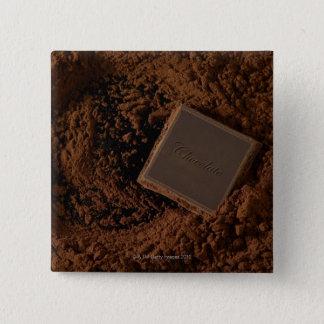 Chocolate Square in Chocolate Powder Pinback Button