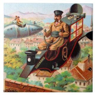 Chocolate Steampunk Flying Machine Ceramic Tile