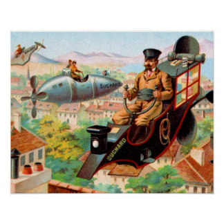 Chocolate Steampunk Flying Machine Poster
