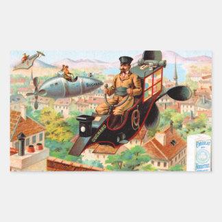 Chocolate Steampunk Flying Machine Rectangular Sticker