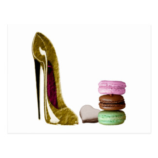Chocolate Stiletto Shoe and French Macaroons Art Postcard