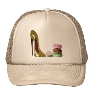 Chocolate Stiletto Shoe and French Macaroons Art Trucker Hat
