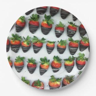 Chocolate Strawberries Paper Plate