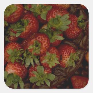 Chocolate Strawberry Cake Square Sticker