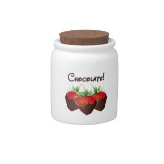 Chocolate Strawberry Candy Jars