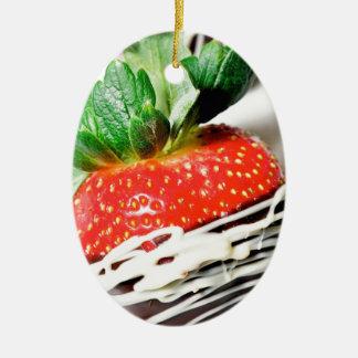 Chocolate strawberry! ceramic ornament