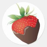 Chocolate Strawberry Classic Round Sticker