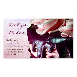 Chocolate Strawberry Cream Cake Pink Business Card